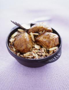Colombo de joues de porc, amande et riz sauvage