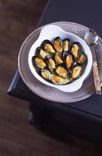 Moules gratinées au safran