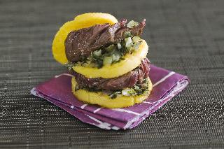 Sandwich d'onglet à la polenta